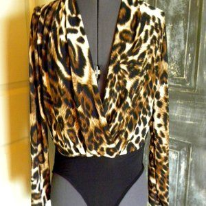 Black/Brown Leopard Print Long Sleeve Bodysuit